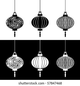 traditional paper lantern decorations on white and black