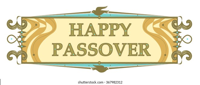 Traditional Passover Banner - Retro style Passover banner with stylized dove and Happy Passover text in the center. Eps10