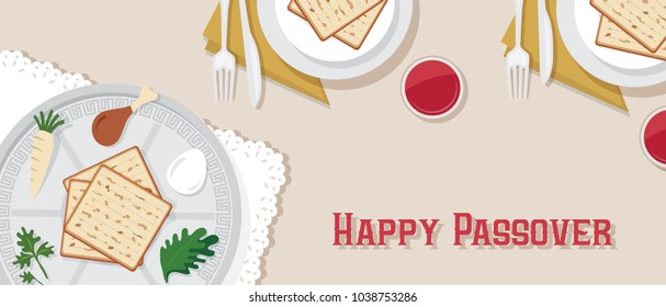 traditional Passover table for Passover dinner with Passover plate. vector illustration template banner design