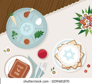 traditional passover table for Passover dinner with passover plate. vector illustration template (Passover Haggadah in Hebrew)