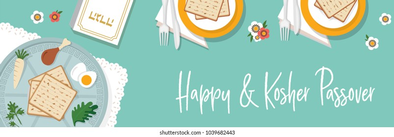 traditional passover table for Passover dinner with passover plate. vector illustration template banner design (Passover Haggadah in Hebrew)