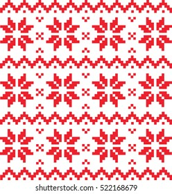 Traditional pattern ornament with red stars and lines, Christmas style