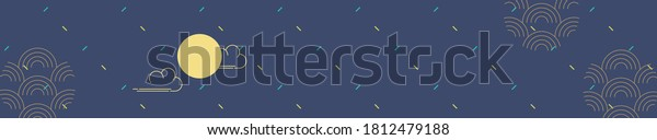 Traditional pattern placard background with full moon and clouds.