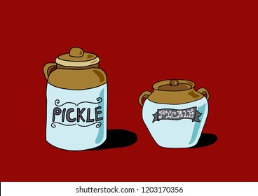 Traditional pickle jars vector graphic design