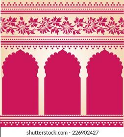 Traditional pink Indian saree temple design