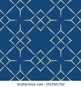 Traditional pointillism seamless pattern. geometrical pattern structured by many dots with vintage color.
