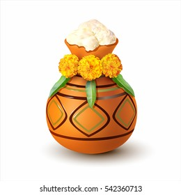 Traditional Pongal mud pot decorated with flowers isolated on white. Vector illustration.