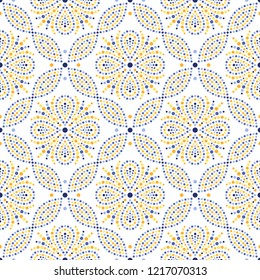 Traditional Portugal azulejos inspired colorful lattice seamless pattern of dotted flowers, snowflakes, stars. Mosaic blue, yellow, orange dots. Floral print of beads in trellis. Vector Illustration