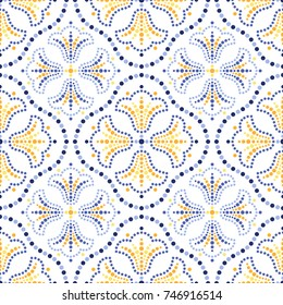 Traditional Portugal azulejos inspired seamless pattern for wall and floor home ceramic design. Dotted blue, yellow and orange print of beads in trellis and mosaic tulip flowers.  Vector Illustration.