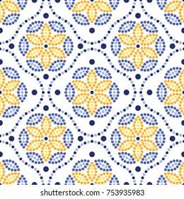 Traditional Portugal azulejos inspired seamless pattern for wall and floor home ceramic design. Dotted blue, yellow and orange print of beads in trellis and mosaic flowers.  Vector Illustration.