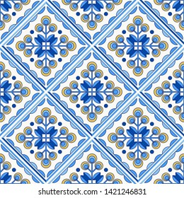 Traditional Portugal Lisbon azulejo ceramic tiles. Vector illustration. Yellow, blue and white colors. Four floor tiles set. Seamless vector pattern.