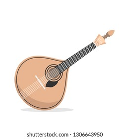 Traditional Portuguese guitar fado. Icon of acoustic musical instrument famous in Portugal. Vector illustration