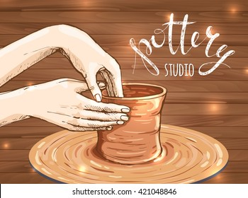traditional pottery making, close up of potter's hands shaping a bowl on the spinning wheel by red clay; hand drawn vector illustration of process making crockery, earthenware in sketch style
