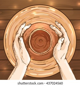 traditional pottery making, hands shaping a bowl on the spinning wheel by red clay; hand drawn vector illustration in sketch style of process making crockery, earthenware