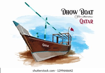 Traditional Qatar wooden boats dhow, watecolor background. Vector illustration