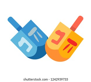 Traditional quadrangle toy for kids - wooden dreidels, for games during the Jewish holiday of Hanukkah, with lettering with Hebrew alphabet, dedicated to the Jews on Hanukkah. Vector illustration.