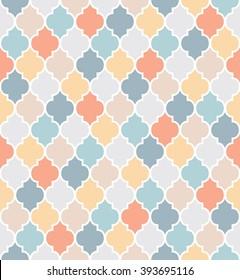 Traditional quatrefoil pattern in faded colors. Editable vector seamless pattern repeat.