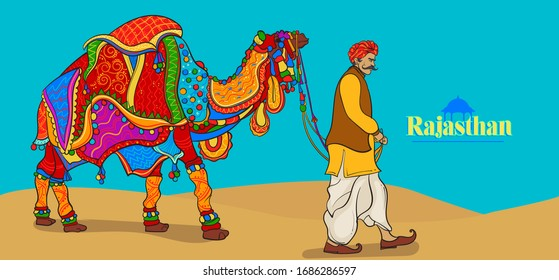 Traditional rajasthani camel and man colorful vector illustration.