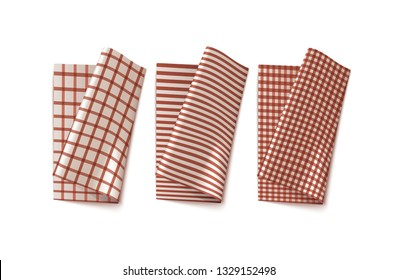 Traditional Red Chekered Kitchen Linen. Three Vector Photo Realistic Napkins Set Isolated On White