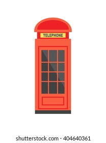 Traditional red phone booth in London, isolated