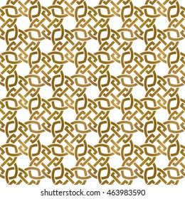 Traditional repeatable background of golden twisted strips. Swatch of gold plexus of bands. Vintage seamless pattern.