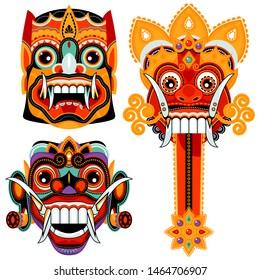 Traditional ritual Barong Masks panther-like creature. Bali, Indonesia. Vector illustration