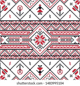 Traditional Romanian Floral Motif Seamless Pattern