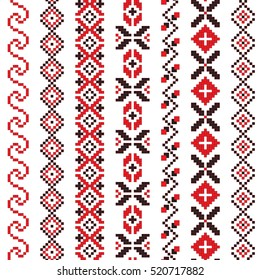Traditional Romanian folk art knitted embroidery pattern
