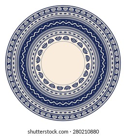 Traditional Romanian round decorative element, vector template