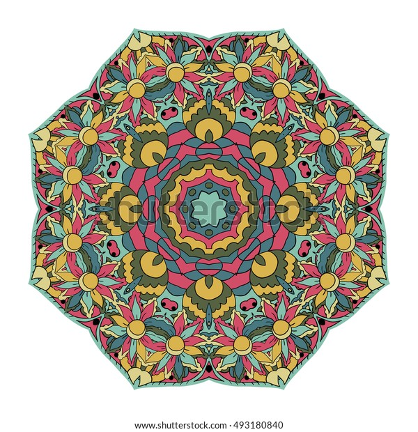 Traditional round ornament. Oriental pattern. Mandala. Doodle drawing. Blue and pink tones