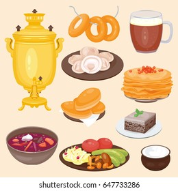 Traditional Russian cuisine culture dish course food. welcome to Russia gourmet national meal vector illustration.