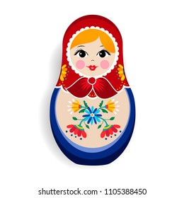 Traditional russian doll ornament isolated on white background. Nesting matrioska girl, souvenir from Russia in hand drawn floral dress. EPS10 vector.