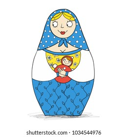 Traditional Russian doll wooden toy Matryoshka with noun. One of set. Vector children book illustration.
