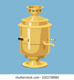 Traditional Russian gold samovar culture dish course drink welcome to Russia gourmet national meal vector illustration