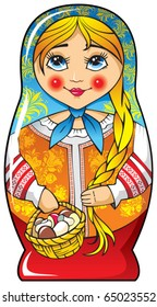 Traditional Russian matryoshka (matrioshka) doll, national style costume, vector illustration