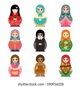 Traditional russian matryoshka toy set with handmade ornament figure pattern with child face and babushka woman souvenir painted doll vector illustration.