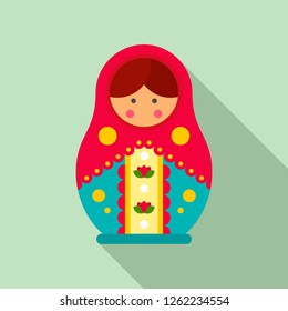 Traditional russian nesting doll icon. Flat illustration of traditional russian nesting doll vector icon for web design