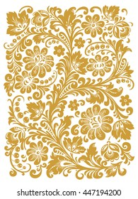 Traditional Russian ornament with elements of folk Khokhloma style. A floral print in gold colors. Vector illustration.
