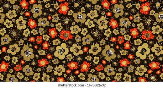 Traditional Russian ornament in folk Khokhloma style. Seamless floral pattern in gold and red colors. Vintage colorful background. Hand-drawn vector illustration.