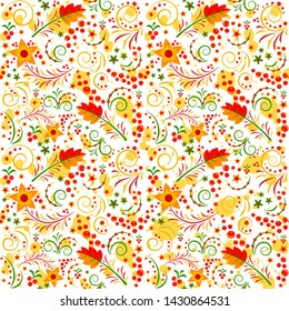 Traditional russian ornament pattern Hohloma. Folk russian seamless pattern. Vector illustration design.
