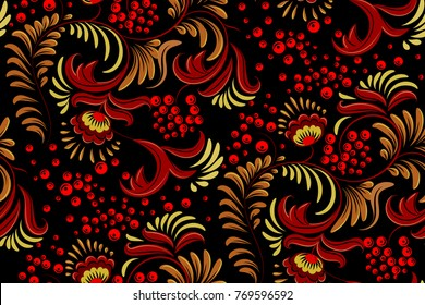 Traditional Russian ornament seamless pattern with elements of folk Khokhloma style. A floral print in gold colors. Vector illustration.