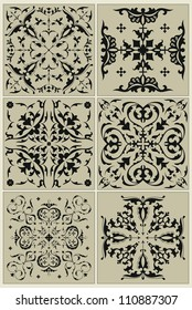 Traditional Russian pattern, black vignette - design elements and page decoration