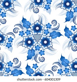 Traditional Russian seamless floral pattern in the style gzhel