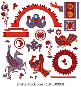 Traditional Russian and slavic ornament and symbols. vector illustration isolated. Russian style design and national motifs.