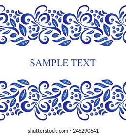 Traditional Russian vector seamless pattern frame in gzhel style. Can be used for banner, card, poster, invitation, label, menu, page decoration or web design