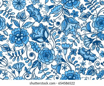 Traditional Russian vector seamless pattern in gzhel style. Fabulous blue flowers on white background.