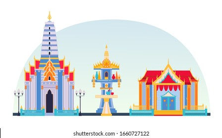 Traditional rustic Thai temple, Thailand house. Religious luxury Thailand building flat vector illustration