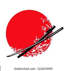 traditional samurai sword and blooming sakura branches - katana and japanese red sun vector design