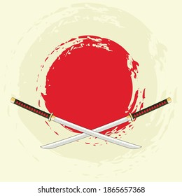 Traditional samurai weapon, Japanese katana sword retro poster design.