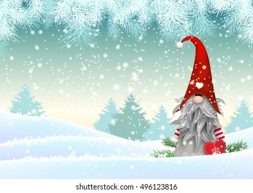 Traditional scandinavian christmas gnome named Tomte standing in winter landscape christmas motive, vector illustration, eps 10 with transparency